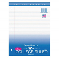 College Ruled 11 x 8 1/2 Inch Lined Paper