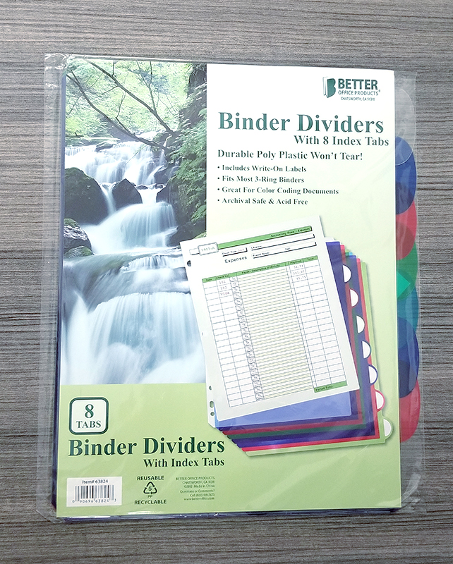 Binder Dividers Set Of 8 (SKU 111707921130)
