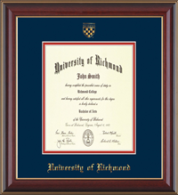 For Law Cherry Lacquer with Seal and Double Mat Diploma Frame