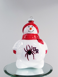 Red Glass Snowman Ornament