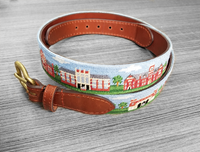 Smathers & Branson Hand Stitched Needlepoint Belt with Campus
